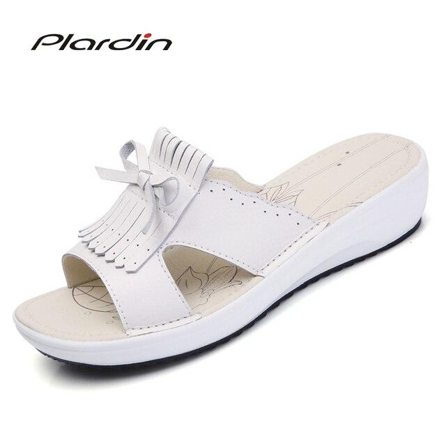 3cab917c23e Plardin New Bohemia Casual Women s Flat Platform tassel Butterfly-knot Sandals  Wedges Beach Sandals Shoes flip flops women