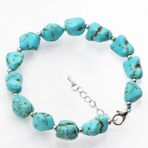 Pulseira bracelete, novo, original, diy, miçangas irregulares, feminino 9-11mm, turquesa, pedra fio, pulseira, joias, 7.5 polegadas a633