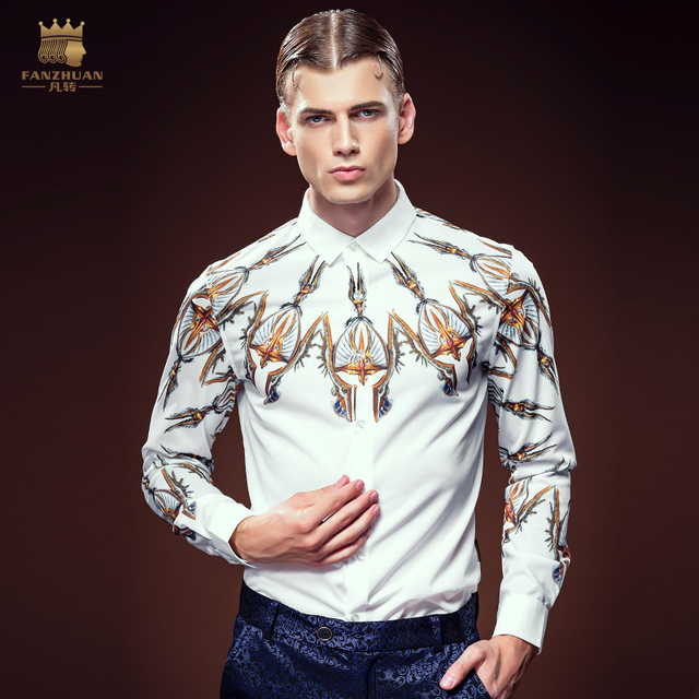 Free Shipping New fashion casual male men's personality 2016 palace printing shirts slim long sleeved shirt 2138 DP on sale