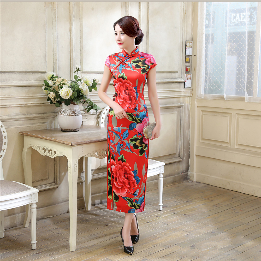 New Arrival Chinese Women's Satin Print Long Qipao Elegant Plus Size XXXL Cheongsam Vintage Flower Sexy Dress S M L XL XXL XXXL цена
