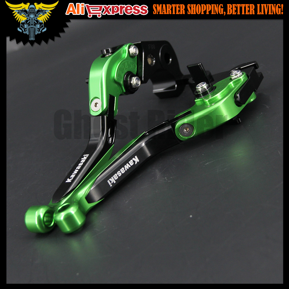 ФОТО New Green Motorcycle Adjustable CNC Aluminum Brakes Clutch Levers For kawasaki VERSYS 1000 VULCAN/S 650cc VERSYS(650cc) ZZR600