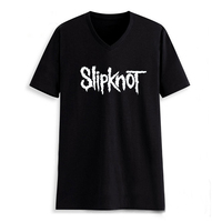 Metal Music Slipknot Letter Man V Neck Letter Print Tshirt Male Tshirt Men TeeShirts Hiphop Skateboard