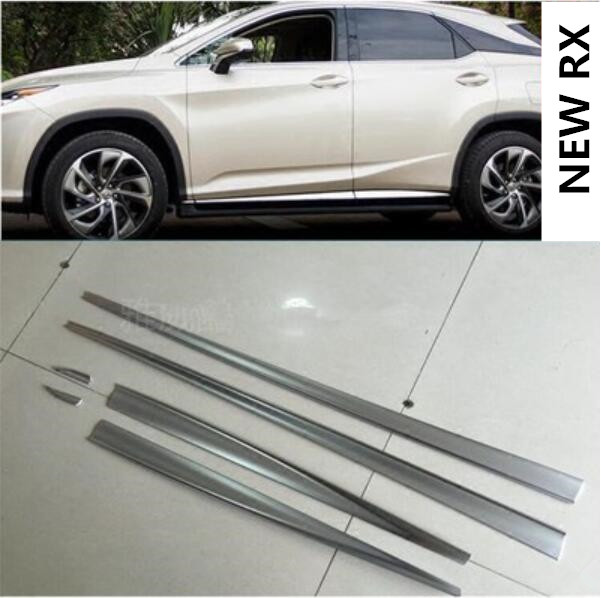 Stainless Steel Body Side Door Molding Cover Trim For 2016-2018 Lexus RX350 450h