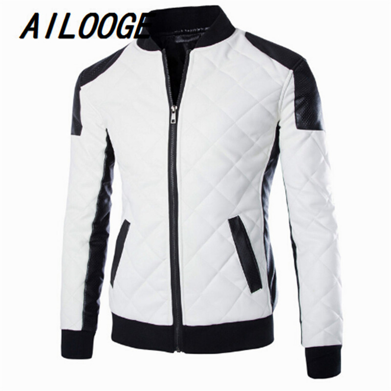 Mens Quilted Leather Jackets Coats White Black Contrast Shoulder ... : white quilted leather jacket - Adamdwight.com