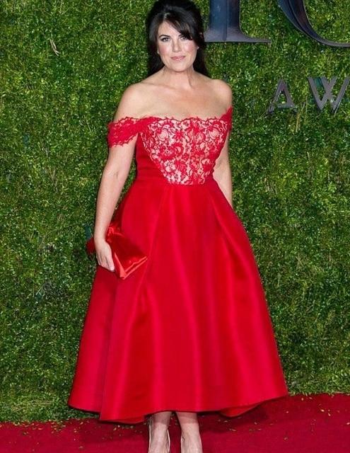 2015 Monica Lewinsky Tony Awards A Line Lace Celebrity Red Carpet Dresses