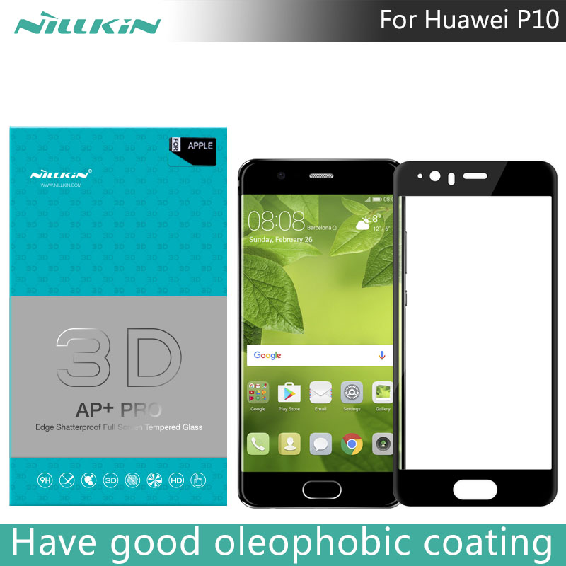 imágenes para Para huawei p10 nillkin 3d ap + pro edge vidrio templado inastillable vidrio templado para huawei p10 pantalla completa 5.1 pulgadas 0.23mm delgada