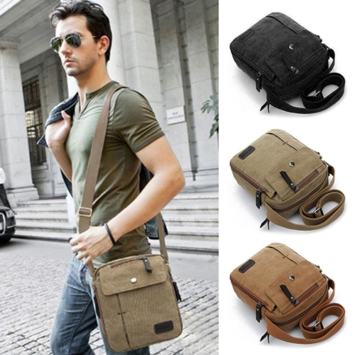 2019 New Sale Men Canvas Handbags Single Strap Male Shoulder Bags Solid Zipper School Bags For Teenager Casual Travel Handbags