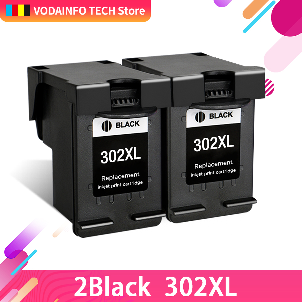 QSYRAINBOW 2 bk compatible for HP302 HP 302 302xl Printer Ink Cartridge F6U68AE F6U67AE 68AE 68 67 Deskjet 1110 1111