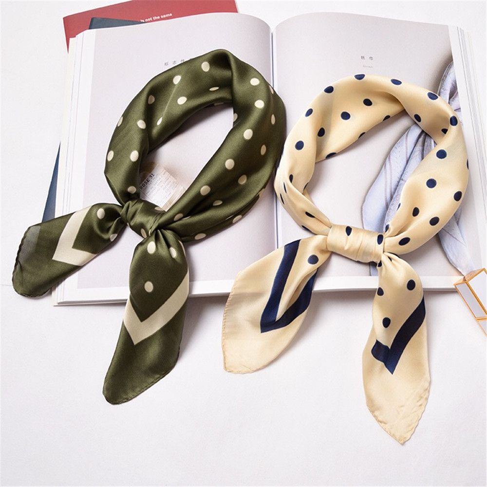 50*50cm Women Summer Vintage Square Silk Feel Satin Scarf Different Styles Skinny Elegant Head Neck Hair Tie Band