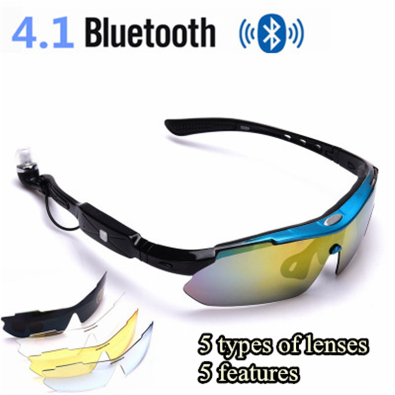 5 sets Replaceable lens Stereo Bluetooth Glasses Bluetooth Phone Wireless Earphones Sport Headphone Polarizing Lens For Sport
