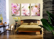 3pcs Print poster canvas Wall Art Real butterfly orchid  Decoration painting pictures on the wall sitting room frame art-047