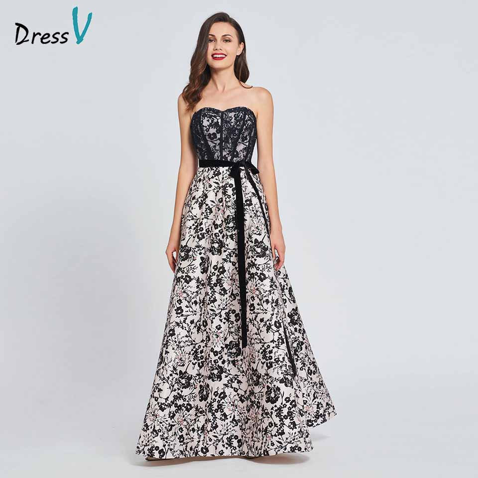 Dressv Party-Gown Strapless Elegant Evening Lace Print Custom A-Line Bow Floor-Length