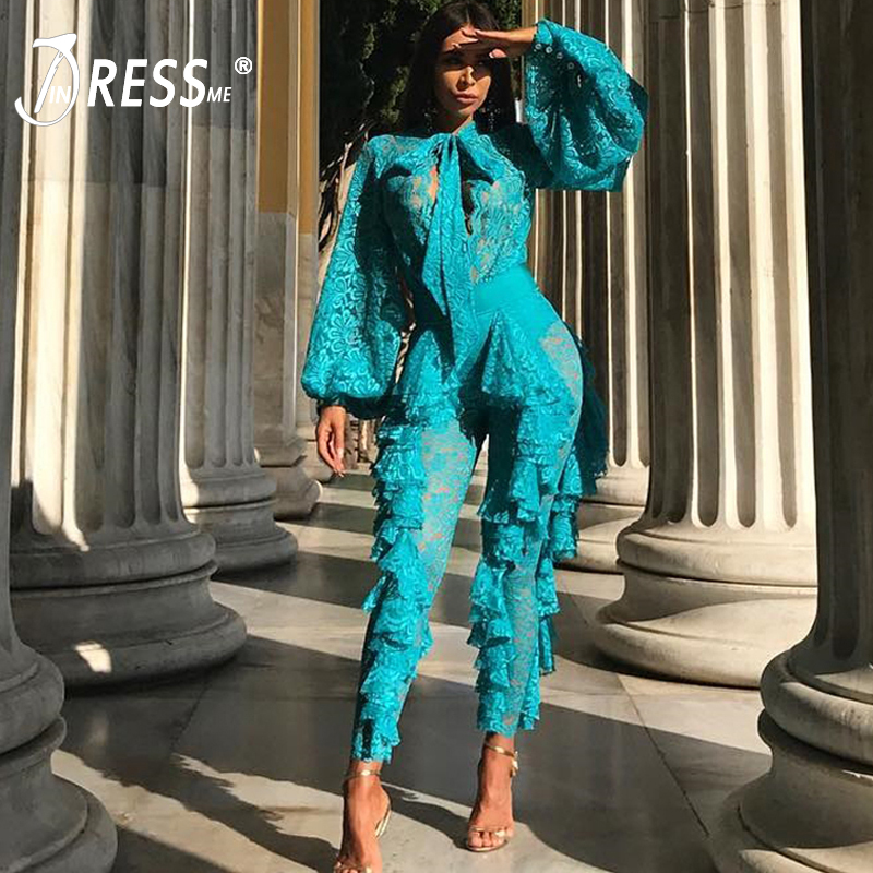INDRESSME Women Full Length Lace Deep V Hollow Out Bandage Jumpsuits Lace Up Sexy Club Party Bow Jumpsuit Vestidos 2019