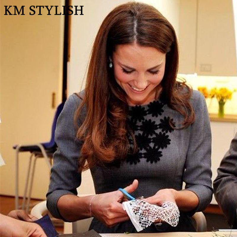 2019 automne o-cou demi manches robe Kate princesse même modèle Slim Fit gris couleur plissée broderie une-pièce robe femme