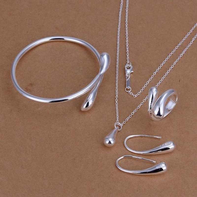 Mode Hochzeit Braut Schmuck Set Silber Wasser Tropfen Armband Halskette Ohrbügel Ring Sets für Frauen Einfache Kreative Zarte Geschenk