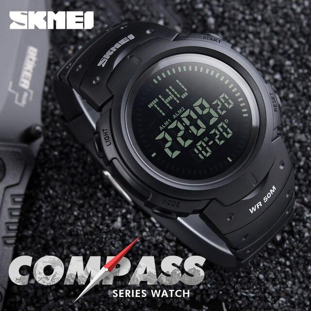 2017 SKMEI Спорт на открытом воздухе Компасы Часы Пеший Туризм Для мужчин часы цифровой светодиодный электронные часы человек Спортивные часы хронограф Для мужчин часы