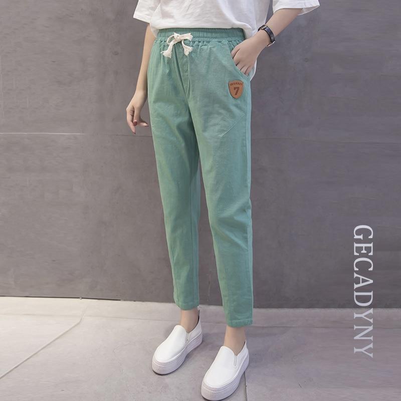 Autumn Casual Women Trousers Plus Size Woman Clothes Drawstring Waist Stretched Cotton Linen Bottoms Fashion Concise Pants S-3XL