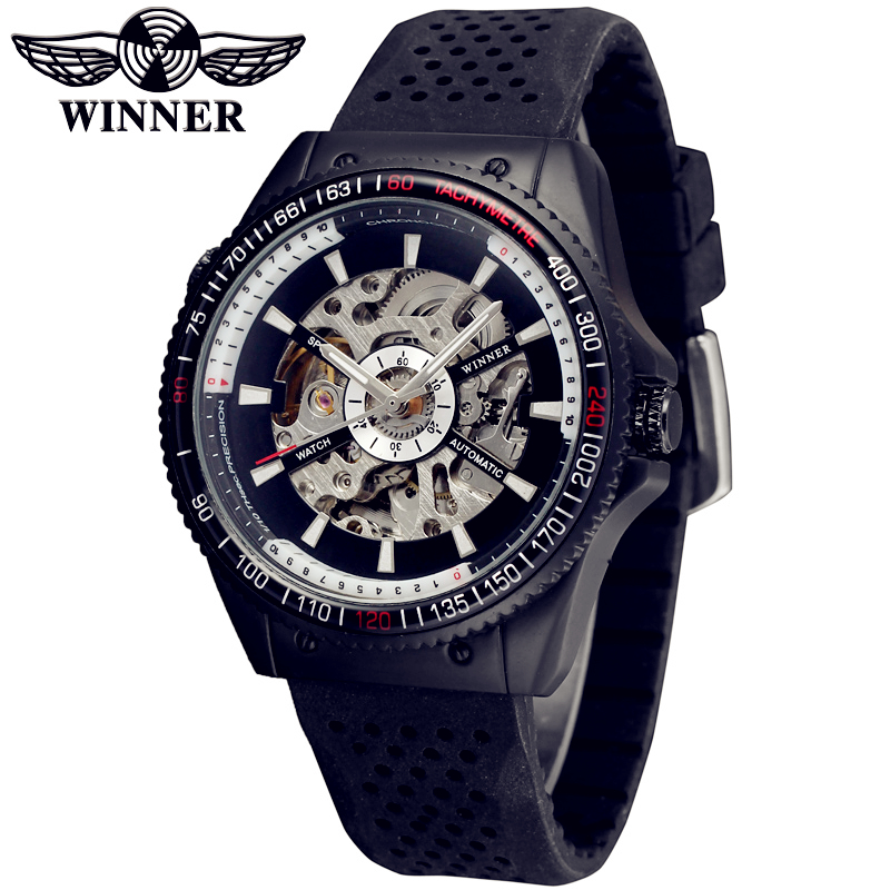 Fashion WINNER Men Luxury Brand Skeleton Silicone Band Sports Watch Automatic Mechanical Wristwatches Gift Box Relogio Releges fashion winner men luxury brand cool skeleton leather band watch automatic mechanical wristwatches gift box relogio releges 2016