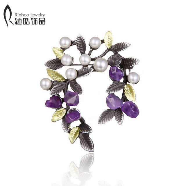 Colorful Natural Stone Leaf Brooches Pins Vintage Style Imitation Pearl Big Wome