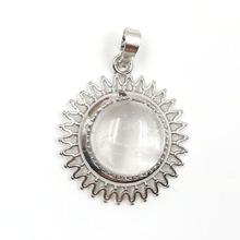 FYJS Unique Jewelry Silver Plated Sun Flower Shape with Natural Clear Quartz Round Bead Pendant