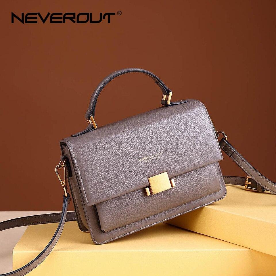 NEVEROUT Sac à bandoulière en cuir véritable Sac à Main un Sac à bandoulière souple sacs à Main pour femmes Designer solide élégant sacs Messenger