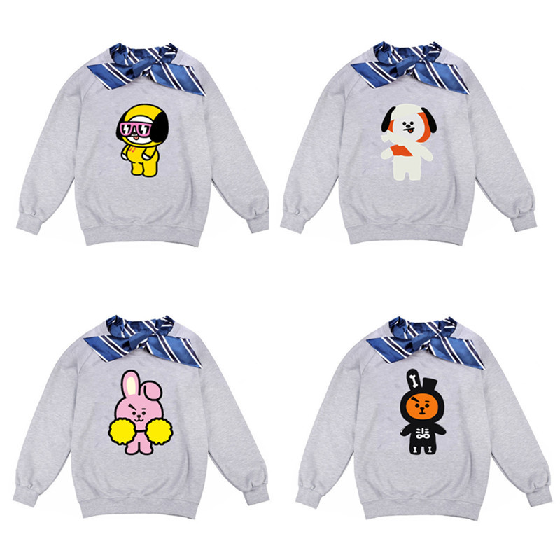 Cheap Sale Bts Bulletproof Youth Group Bt21 Cartoon Character Printing Round Neck Hoodies Striped Loose Korean Version Of Students Beautiful In Colour Women's Clothing