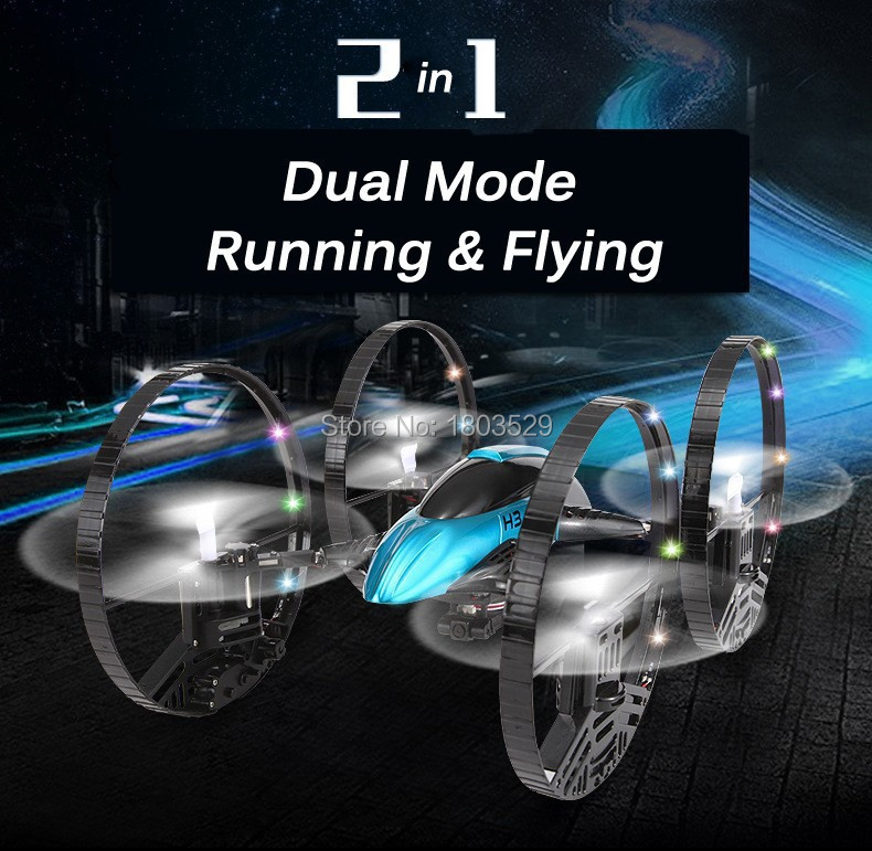 Free Shipping H3 Air-ground 6-Axis Gyro RC Quadcopter Drone UFO 3D with 2MP HD Camera RTF 2.4GHz Four-Wheeled RC Toy
