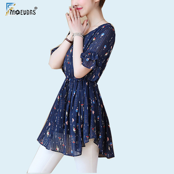 54085b09f5e Шифон женские блузки летняя одежда тонкая талия шифон живота плюс размеры  5XL 4XL 3XL баски Топ длинная туника блузка
