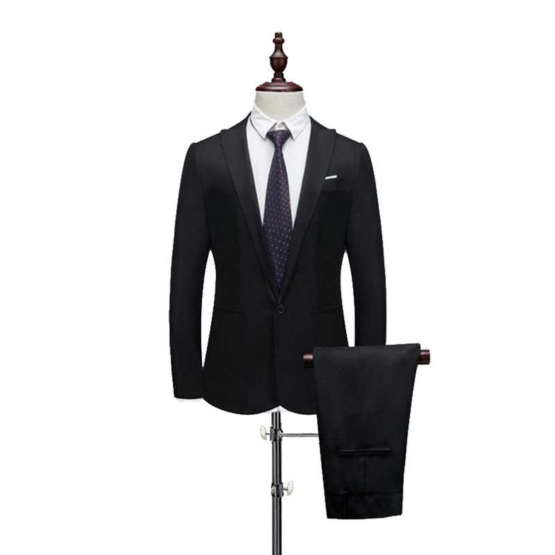 ADISPUTENT New Male Spring And Autumn Thin Section Pure Color Groom Tuxedos Wedding Suits (Jacket+ Pant) Casual Slim Fit 2 Piece