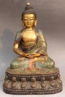 14 античная перегородчатой эмали Золото Позолотить Шакьямуни Будда Амитабха Лотос статуя