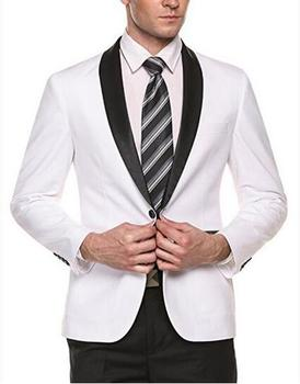 New Style Solid White One button Groom Tuxedos Shawl Lapel Men Suits Wedding Best Man Blazer Single breasted