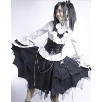 Black Cotton Gothic Lolita Skirt Gorgeous Reaationary Lace Irregular Edge L6