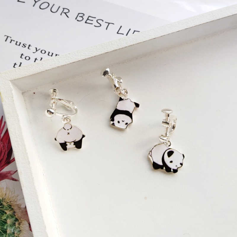 Fashion creative funny giant panda ear hook sweet girl wind earrings cute ear clip female jewelry earrings wholesale couple gift