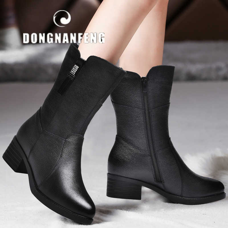 DONGNANFENG Women Female Mother Ladies Genuine Leather Shoes Boots Mid Calf Winter Plush Fur Warm Zipper Med Heel Bling BH-8783