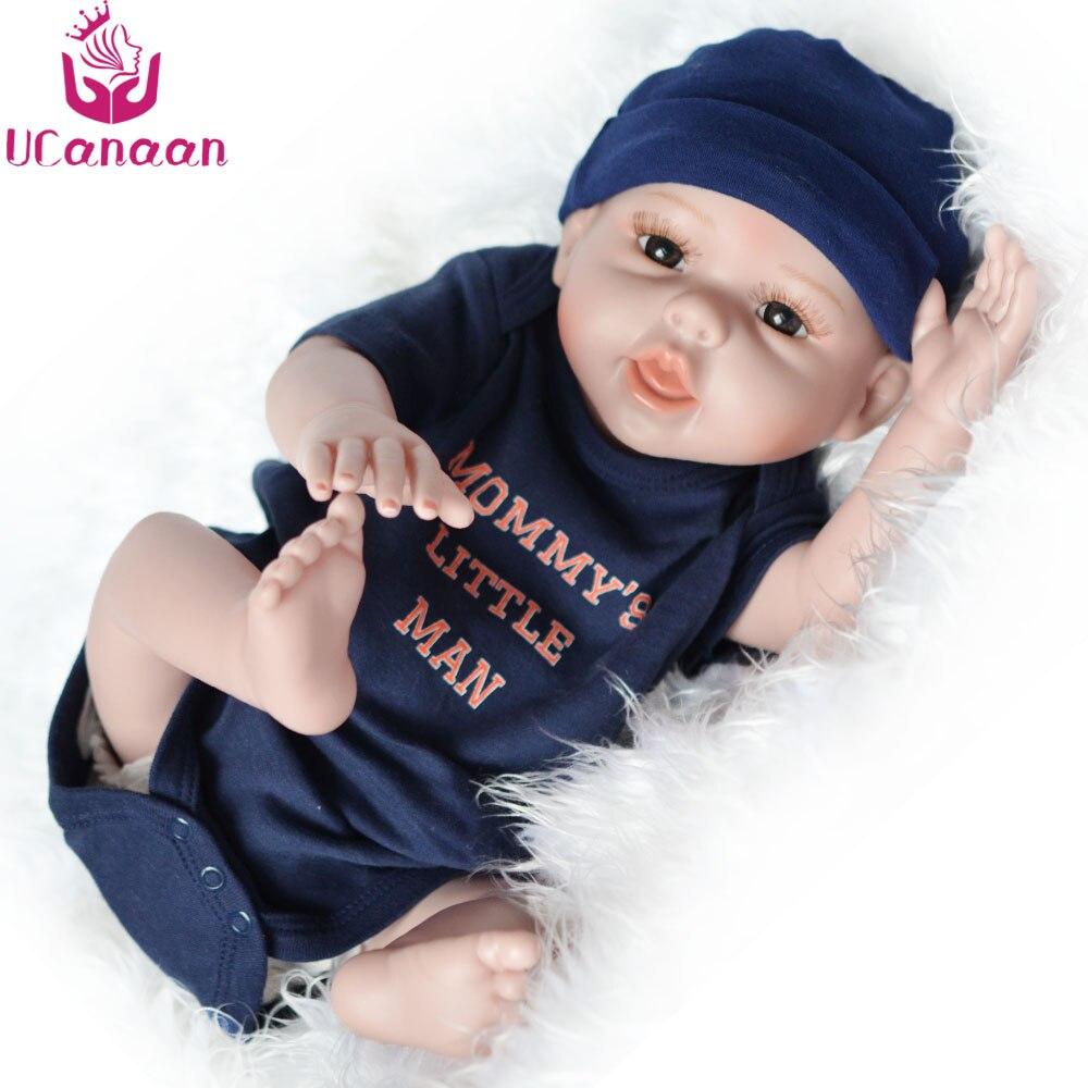 Ucanan 20 ''/50 CM muñeca de silicona suave Reborn muñecas Baby Boy para niños juguetes realistas para niñas metoo juguete-in Muñecas from Juguetes y pasatiempos    2