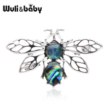 Wuli&baby Natural Shell Bee Brooches Women Men Insect Brooch Collar Pins