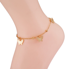 Fashion Gold Butterfly Foot Anklets Jewelry Accessories Copper White Gold-Color Anklets For Women Bracelet Female On The Leg