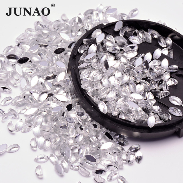 9e0246857b9e JUNAO 3 6mm Clear Crystals Flatback Rhinestones Nails Crystal Stones Horse  Eye Acrylic Strass Cabochon For DIY Jewelry Crafts