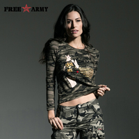 Free Army Brand Womens Fashion T Shirt 2015 Army Green Spring Autumn Lace Stitching Round Neck
