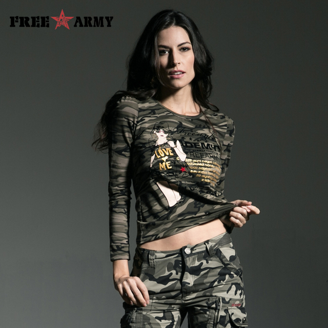 Fashion  t shirt women long sleeve 2016 Camouflage Spring Autumn Lace Stitching Round Neck Women Tops And Tees GS-8366B