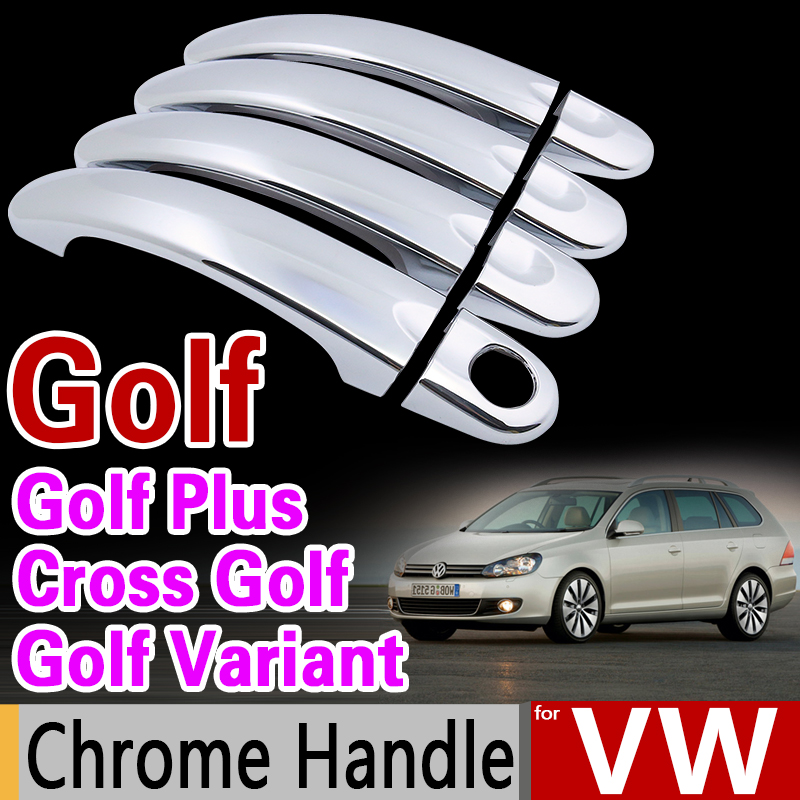 Chrome Door Handle Cover for Volkswagen Golf Variant Golf Plus Cross Golf VW 2004 2006 2008 2009 2010 2012 2013 2014 Car Styling nitro triple chrome plated abs mirror 4 door handle cover combo