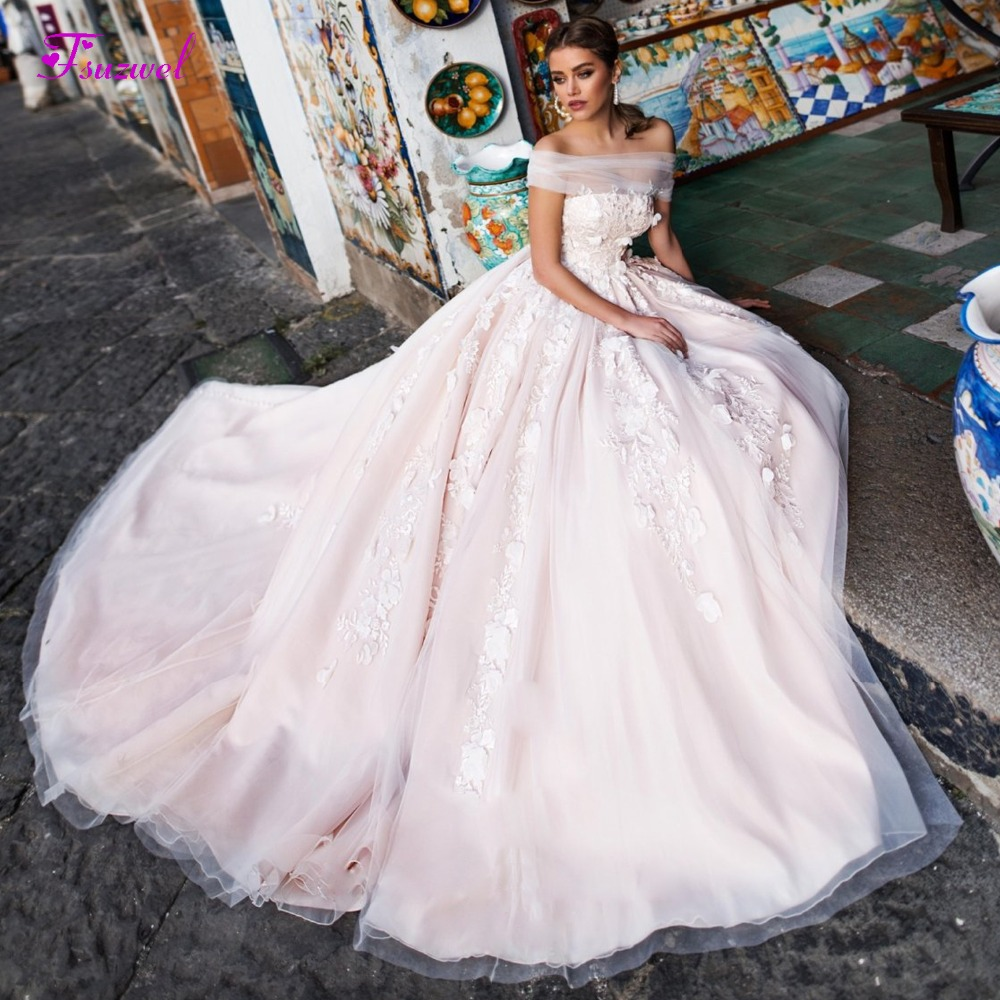 New A Line Boat Neck Cathedral Train Wedding Dress Pink Satin Bridal Gowns 2019