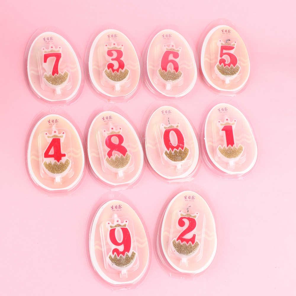 1 Pc 0-9 Numbers Cake Topper Verjaardag Bruiloft Digitale Crown Kaarsen Goud Rood Nummer Feestartikelen Diy Decoratie voor Bakken