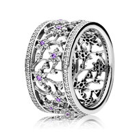 New 925 Sterling Silver Ring Forget Me Not Flower With Crystal Rings Band For Women Compatible