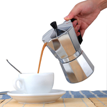 Stovetop Espresso Maker Aluminium with Brown Handle Express High Quality Coffee Pots 1/2/3/6/9 Cups