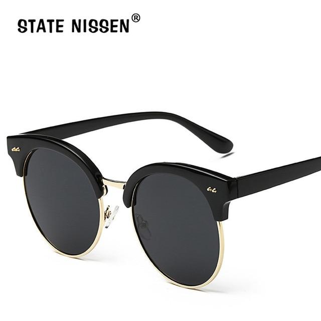01a420982c STATE NISSEN Fashion Cat Eye Round Sunglasses Women Brand Designer Mirror Lens  Sun Glasses for Female Glasses Shades Round Frame