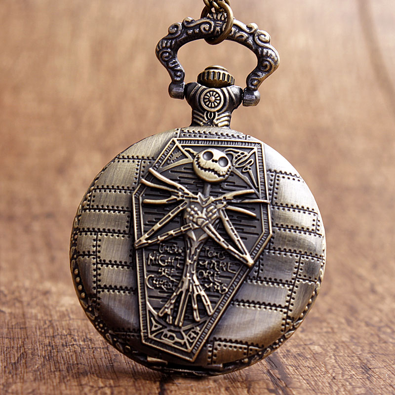 Retro Jake Nightmare Before Christmas Black Dial Skeleton Men's Women's Quartz Pocket Watches Necklace Chain Halloween Xmas Gift