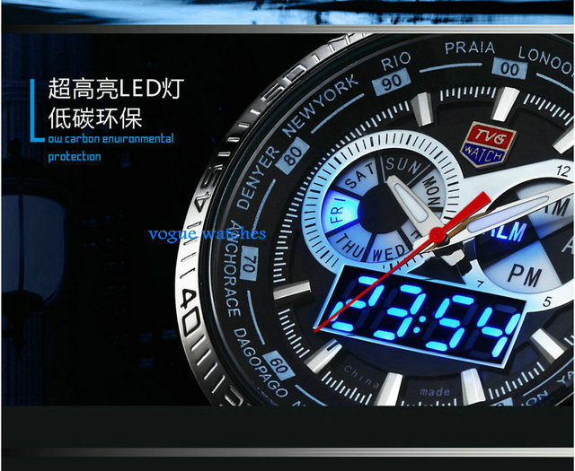 2016 Stainless Steel Black Men's military  Blue Binary LED Pointer Watch Mens 3AM Waterproof sports Watches