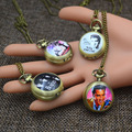 Fashion Pocket Watches Necklace Pendant Women Quartz Fob Watch Bronze the Beatles Elvis Presley Cute Girl Skull Marilyn Monroe