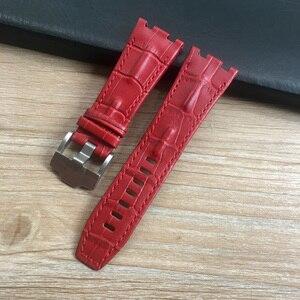 Image 5 - 28mm * 22mm (fivela) preto com branco amarelo pontos vermelho azul pulseira de couro genuíno para ap pulseira de relógio masculino